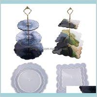 Três camadas bandeja de frutas molde de silicone carrinho de bolo de resina epóxi placa de bandeja de resina diy moda de resina molde de cristal de cristal placa de epóxi home wkre2 ercls