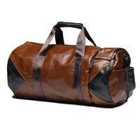 Retro men's travel bag gym women leather polyurethane Crazy Horse Sports hiking backpack bucket duffel s men J0609