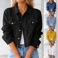 Women's Jackets Women Vintage Button Jacket Denim Long Sleeve Fashion Jeans Top Spring Autumn Casual Female Jean Chic Outwear Coat