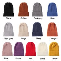 Winter Fashion Wool Knit Beanies Cap Women Solid Color Hat Soft Thicken Warm Knitted Hedging Cap Slouchy Bonnet Skiing Hat