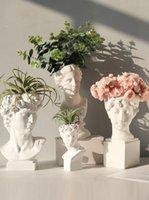 Nordic Reçine Çiçek Vazo David Baş Yaratıcı Yunan Heykel Heykeli Modern Vazo Ev Dekor Düğün Dekor Saksı Dekoratif
