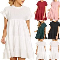Elegant Women Dresses Summer 2021 New Patchwork Solid color Print Casual V-neck Dresses Women Loose Ruffle Ladies Mini Dresses