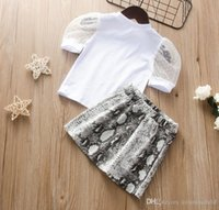 2021 Baby Girls Clothing Sets lace leopard tops print zipper short skirt two-piece girl Kids Clothes