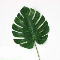 Sztuczna Tropikalna Palma Liście Fałszywe Rośliny Faux Duże Drzewko Palmowe Liść Zielona Greenery Dla Kwiatów Układ Wedding Home Party Decor 232 V2