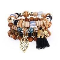 Bohemain Style Strands Multilayer Beads Bracelet European and American Tassel Charms Ethnic Scenic Souvenir Beaded String Bracelets for Women