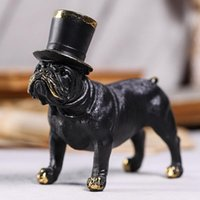 Mats & Pads Resin Black Dog Crafts Ornaments With Jazz Hat Simulation Animal Figurine Art Table Decoration For Home Living Room Office