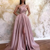 Arabic One Shoulder Dusty Pink Evening Dresses With Pockets 2021 Long Satin A Line Pleats Slit Sexy Corset Prom Gowns Formal Party Dress Back Lace-up