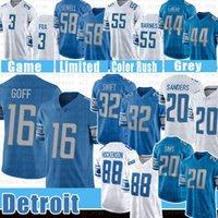 "16 Jared Goff D'andre Swift Football Jersey 88 T.J. Hockenson Barry Sanders Billy Sims Detroit ""Leões"" Jeff Okudah Penei Sewell Derrick Barnes Dick Lebeau Jack Fox"