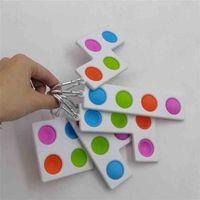 Push Poo its Bubble Sensory Keychain pop fidget toys simple Tiktok Tetris mosaic decompression silicone finger key ring H41RICG