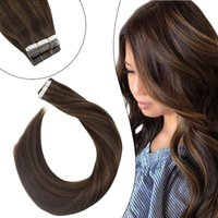 Ugeat Tape in Hair Extensions 12 Inch Color #2 Darkest Brown Highlights 8 Ash Brown Seamless Remy Hair Double Sided Tape In Hair