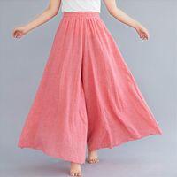 Falda de pierna ancha sólida AMP pantalones para mujer primavera verano alta cintura tobillo longitud de algodón pantalones pantalones mujer