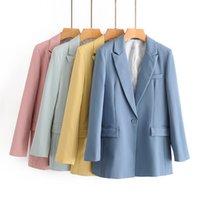 Women Suits Yellow Long Sleeve Female Suit Blazer Candy Color Office Ladies Blazer Autumn Winter Casual Outwear Women Jacket Coat 2021