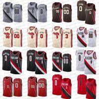Damian 0 Lillard Carmelo 00 Anthony Basketball Jerseys CJ 3 McCollum PortlandTrilhaBlazers.Camisa branca preta de Jersey da cidade