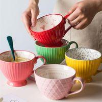أكواب aslesy السيراميك القهوة فنجان الفطور الحبوب لطيف الحليب المنزلية سعة كبيرة الشوفان القدح drinkware ديكور المنزل