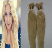 200g Pearl Pre-Colored Brazilian Straight Human Hair Bulk For Braiding 2 Bundle 613 Bleach Blonde Bulk Hair Braids Hair Extension Deal