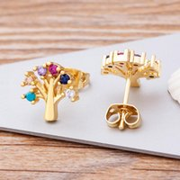 Styles Fashion Rainbow Hamsa Earrings Copper CZ Gold Tree Of Life Stud For Women Girl Colorful Jewelry Gift