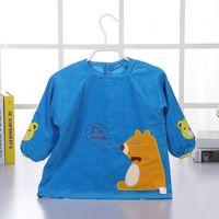 Corduroy cartoon apron waterproof blouse children's back dress baby dinner jacket bib pocket drawing