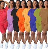 Summer Womens Tracksuits loose two piece set Shorts outfits short sleeve sportswear jogging sportsuit shirt pants suits sweatshirt sport T676