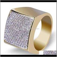 Drop Drop Livraison 2021 Anneaux glacés pour hommes Designer de luxe Mens Blé Blé Diamant Bague carrée en cuivre Zircon 18K Gold plaqué mariage engagements