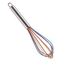 10 polegadas Ferramentas de Ovo Batedor Silicone Cor Silicone Whisk Aço Inoxidável Misturador Ferramenta de Cozimento RRD6900