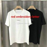 2021 verão paris mens camiseta designer t-shirt moda de alta qualidade vermelho clássico clássico letra bordada cópia camiseta casual tops tee