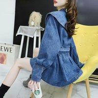 Women's Trench Coats Cloak Loose Korean Denim Shirt Jacket Skirt Style Spring Coat 2021 Fashion Sashes Windbreaker Jeans Women Slim Outwear