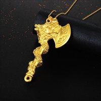 الرجال الفأس قلادة قلادة الأساطير الصينية الذهب لون التنين تصميم رون أحقاد زجاجة فتاحة قلادة سحر قلادات كولير