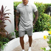 Men's Tracksuits Summer Men Shirt Fashion Sports Tracksuit Fitness Absorb Sweat Tshirt + Jogging Shorts Mans Casual Breathable Running