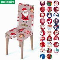 Chair Covers Christmas Milk Silk-printed Dining Cover High Elastic Spandex For Home Decor Hogar Sillas