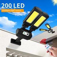 200COB Solar Lamps Outdoor Remote Control Adjustable Angle IP65 Waterproof Light 3 Modes PIR Motion Sensor Sunny Wall Lamp Garden Lighting Yard Garage Pathway