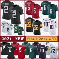 2 Zach Wilson 2021 Homens Personalizados Homem Mulheres Senhoras Juventude Kids Football Jersey 22 Najee Harris 5 Trey Lance 6 Devona Smith 10 Mac Jones Alta Qualidade Costura