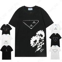 Wiosna Letnie Męskie Projektant Luksusowy T-Shirt Kobiety T Koszula Klasyczny List 3D Druku Kwiaty Geometria Casual Cotton Tshirt Tee Krótki Rękaw Topy Sukienka Ubrania