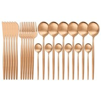 Dinnerware Sets 24Pcs set Rose Cutlery Set 18 10 Stainless Steel Knife Fork Spoon Tableware Home Party Kitchen Silverware