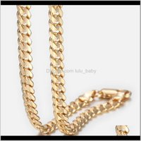 Chains Necklaces & Pendants Jewelrytrendsmax Mens Cuban Link Gold Filled Chain Necklace Gift For Men Hiphop Wholesale Jewelry 4Dot5Mm 50Cm 6