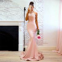 Bridesmaid Dress Girls Halter Low Back Mermaid The Maid Of Honor Long