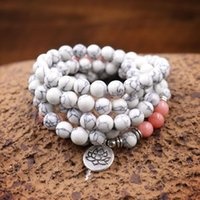 Tennis Fashion Women Bracelet Multicolor Natural Stone Beads With Lotus Charm Wrap Bracelets On Hand 108 Mala Necklace Jewelry Gift