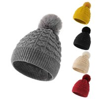 Autumn and winter new wool ball knitted hat corner flower monochrome dome acrylic women's warm