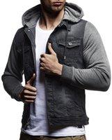Men's Jackets Casual Slim Fit Denim Jacket Color Block Patchwork Sleeve Hooded Jean Outerwear