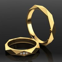 Cluster Rings Luxury Men Women's Classic White Glod Couple Blue Gems Gold Bridal Wedding Engagement Unisex Ring Fine Jewelry