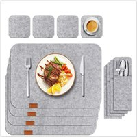 펠트 플레이스 매트, 컵 받침, 단열 패드, 두꺼운 테이블 매트 3pcs / 세트