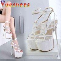 Voesnees Women's Shoes Waterproof Platform Stiletto Sandals Spring Summer Mesh Peep Toe Super High Heels Ladies 210516