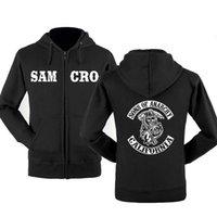 Mens Designer t shirts Soa Sons of Anarchy the Child Fashion Samcro Men Sportswear Zipper Hoodies Male Casual Sweatshirt Fleece Hip Hop Warm Hoody