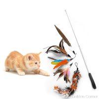 Cat Toys 6 Pcs set Retractable Funny Stick Pet Supplies DIY Replacement Head Pets Teaser Set Kitten Dog Exercise Rod S25 20