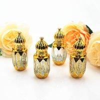 10pcs / lot mini paillasse de parfum vide sur bouteille d'huile essentielle en verre d'épaisseur avec boule de rouleau de verre rechargeable