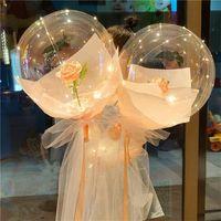 Transparent Bobo Ball LED Luminous Balloon Rose Bouquet Rose Valentines Day Gift Balloon For Birthday Party Wedding Decor 1465 V2