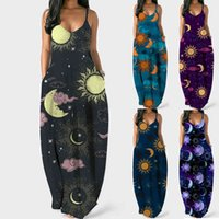 Dress Summer Women Long Sun Moon Print Sexy Bohemian Straps Pockets Maxi Casual Loose Female Beach