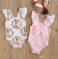 Summer Cute kids girl swim Rabbit Print Girls One piece Swimsuit Children Bunny Floral Printing Fly Sleeve Swimwear for Vacation Travel Wear