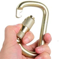 D-ring escalando carabiner 45kn tensão d-forma Quickdraw aço segurança mestre fivela de bloqueio para cabelos de campismo ao ar livre, slings e webbing