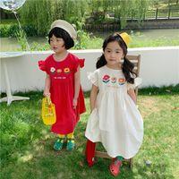 Girls flowers letter printed princess dresses kids falbala fly sleeve pleated dress summer children beach holiday clothings Q0234