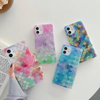 Fashion Mermaid Fish scales shell Soft silicon phone cases for iphone 7 8 Plus X XS XR MAX 11 Pro Square color Cover